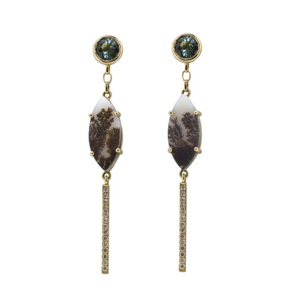 Agate Diamond Drop Earrings by Sorrel Bay