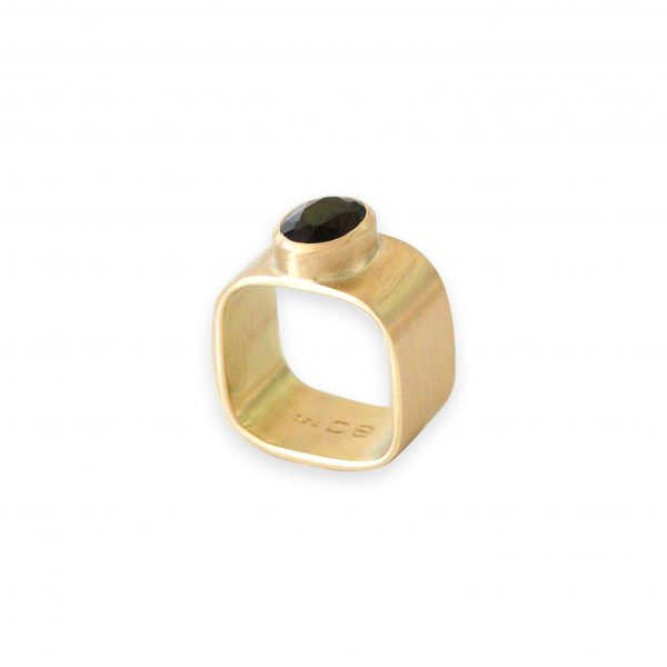 Ann 18k Gold with Tourmaline Signet Ring by Stephanie Cachard