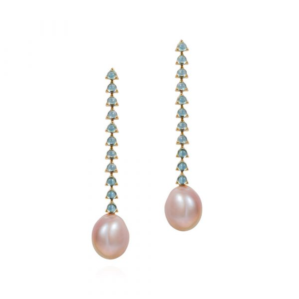 11 Stone Violet Baroque Pearl Earrings by Maviada