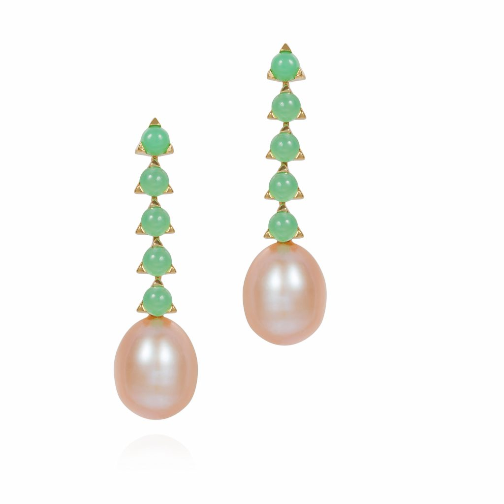 5 Stone Baroque Pearl Earrings by Maviada