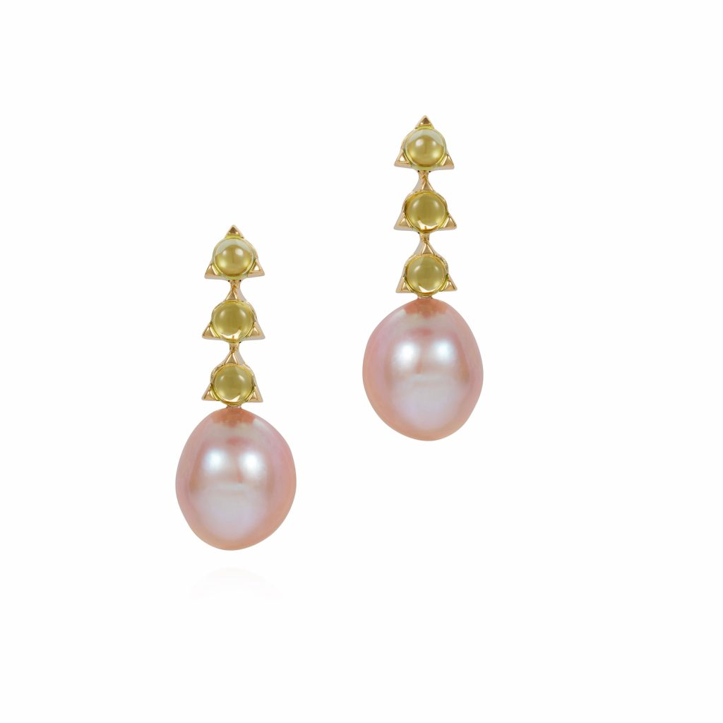 3 Stone Baroque Pearl Earrings by Maviada