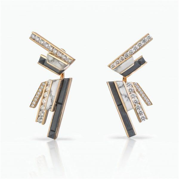 Stellar Dusk Stud Earrings with Ear Jackets by Tomasz Donocik