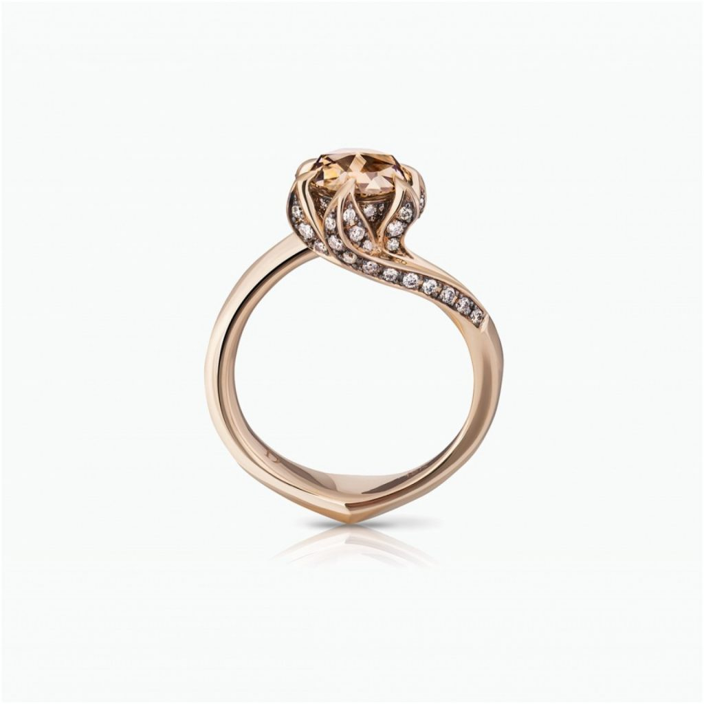 Brown Diamond Lily Pad Ring by Tomasz Donocik