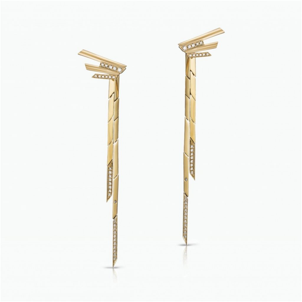 Mini Stellar Stud Earrings with Gold Drops by Tomasz Donocik