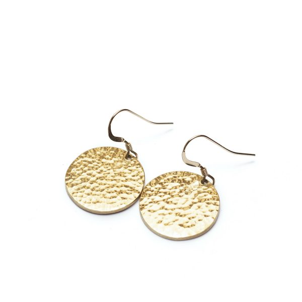Janoni Hammered Brass Medallion Earrings by Yala