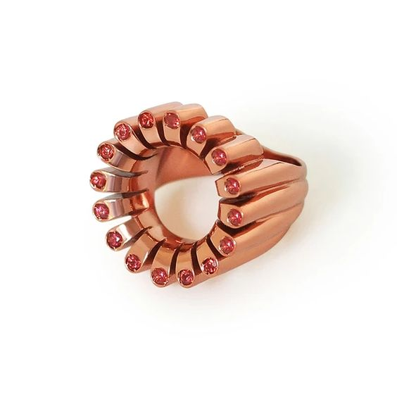 Lakshmi Glow Cocktail Ring in Metallic Mango by Flora Bhattachary