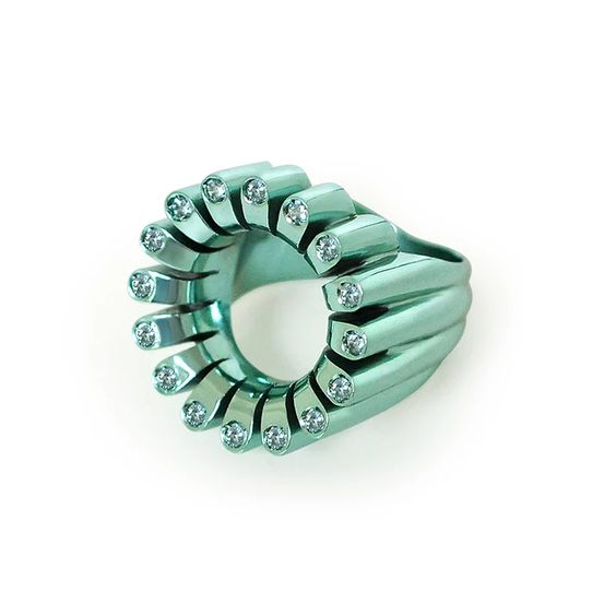 Lakshmi Glow Cocktail Ring in Persian Blue by Flora Bhattachary