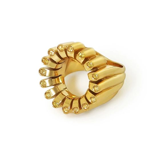 Lakshmi Glow Cocktail Ring in Spiced Saffron by Flora Bhattachary