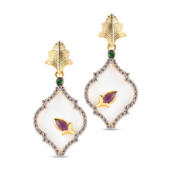 Mother Of Pearl Drop Earrings by Zaabel