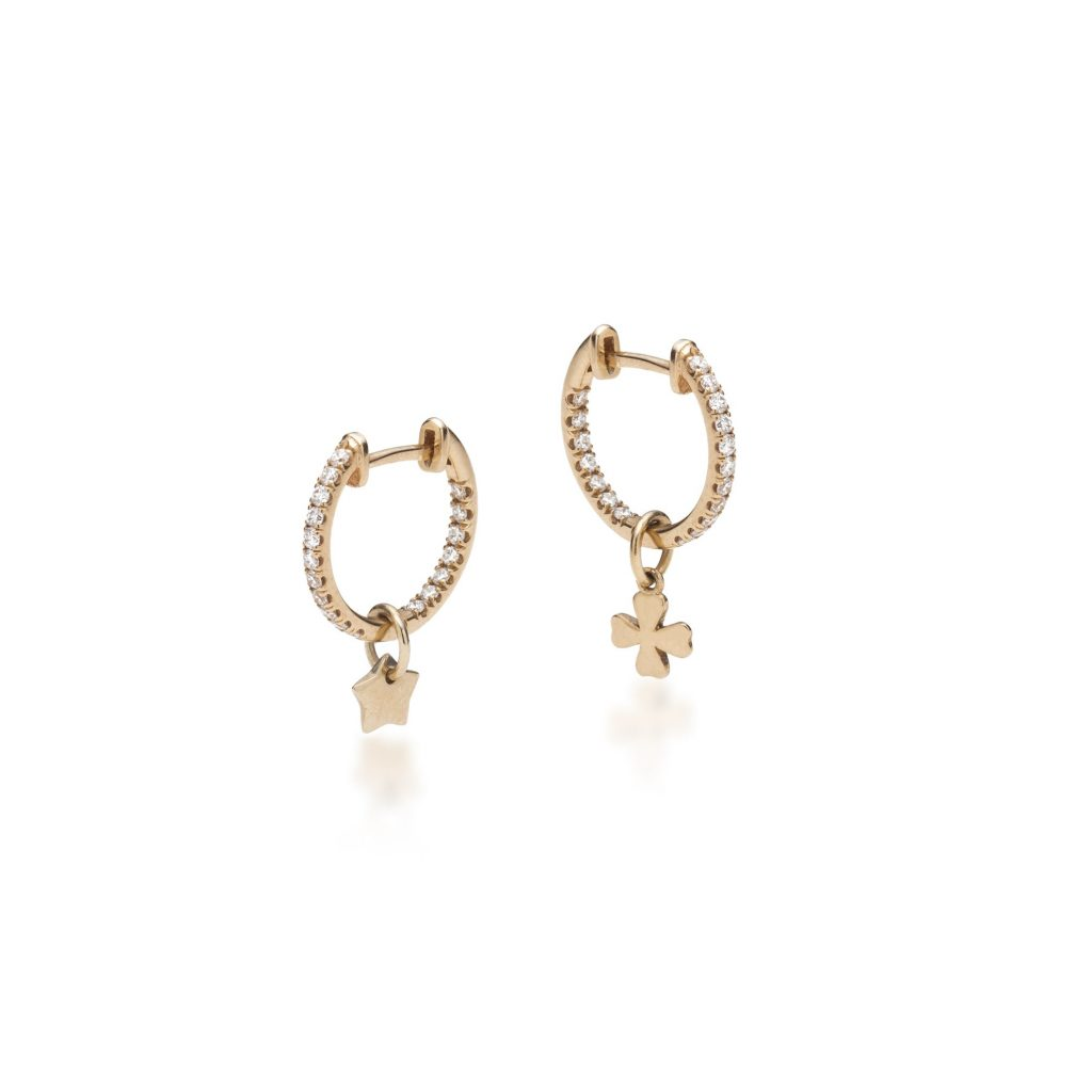 Diamond Hoop Earrings with Tiny Charms by With Love Darling