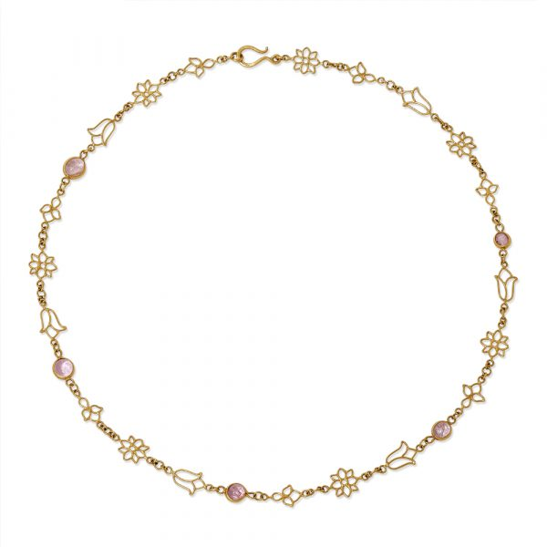 Burmese Lotus Open Wire Chain Necklace by Pippa Small