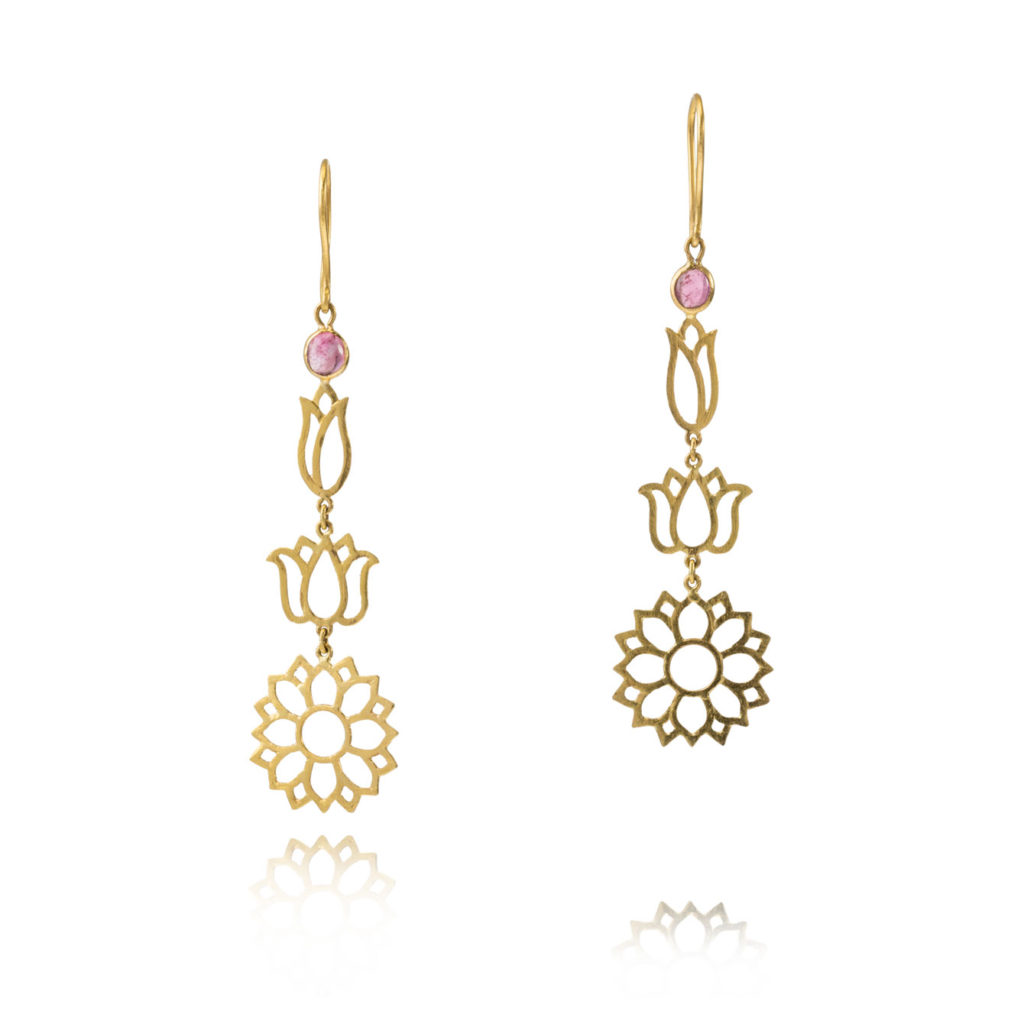 Burmese Long Lotus Earrings by Pippa Small