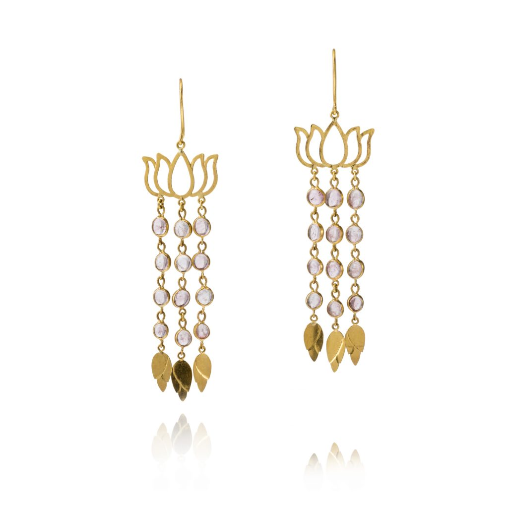 Burmese Lotus Cascade Earrings by Pippa Small