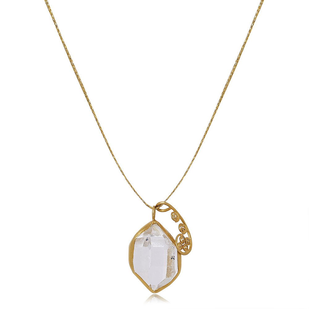 Colette Set Pendant with Herkimer and Gold Fern by Pippa Small