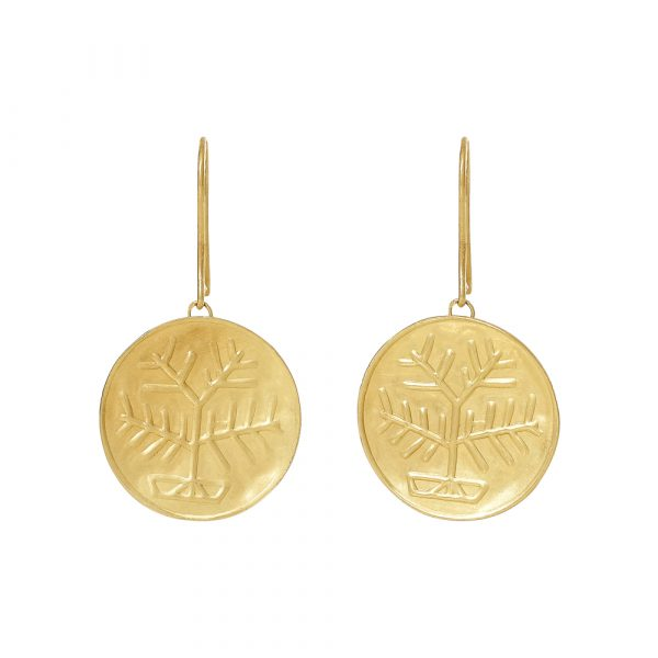 Gold Stamp Circle Tree Earrings by Pippa Small