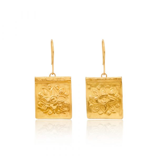 Gold Stamp Square Lotus Earrings by Pippa Small