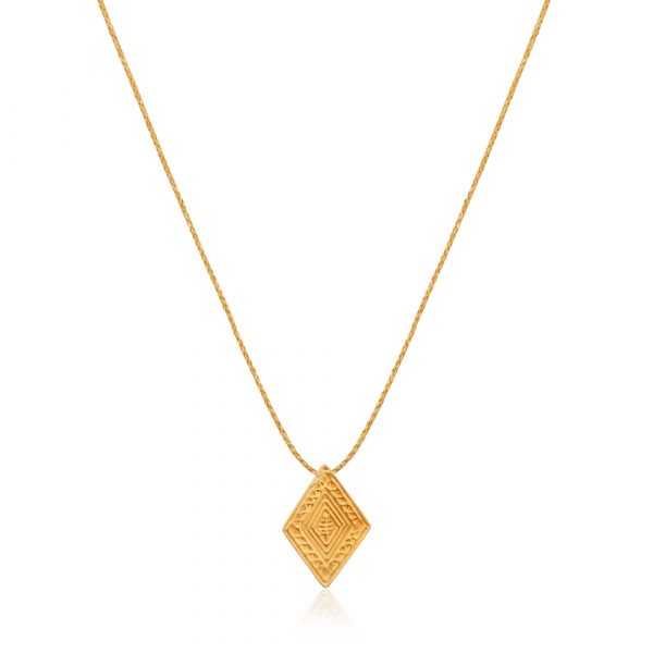 Gold Stamped Diamond Shaped Pendant by Pippa Small