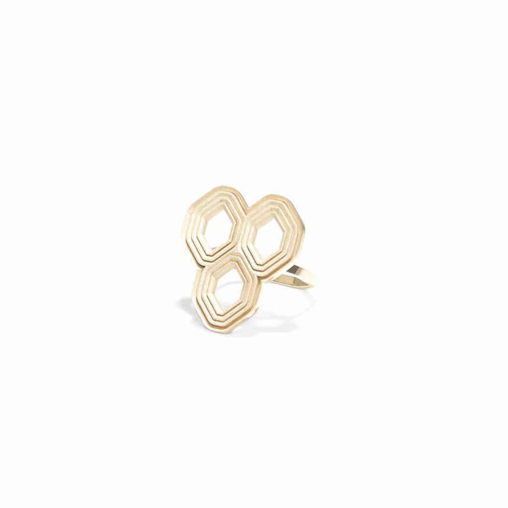 Hive Heraldic Grooved Ring by Hugo Madureira