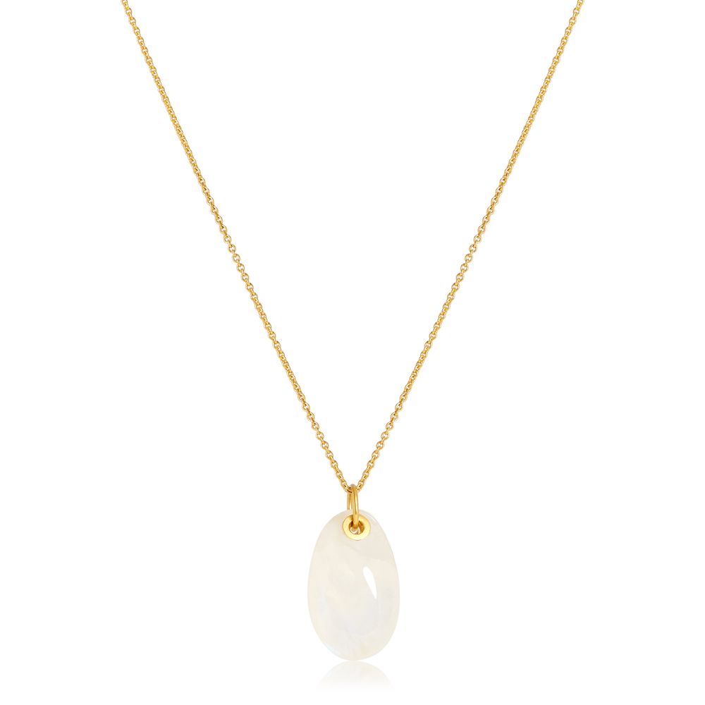 Moon Egg Pendant on Fine Chain – Moonstone by Pippa Small