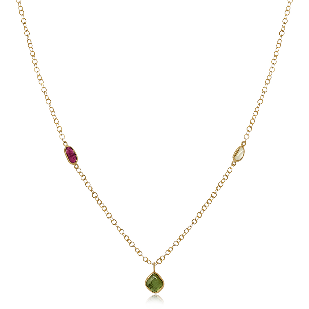 Three Stone Necklace on Chain by Pippa Small