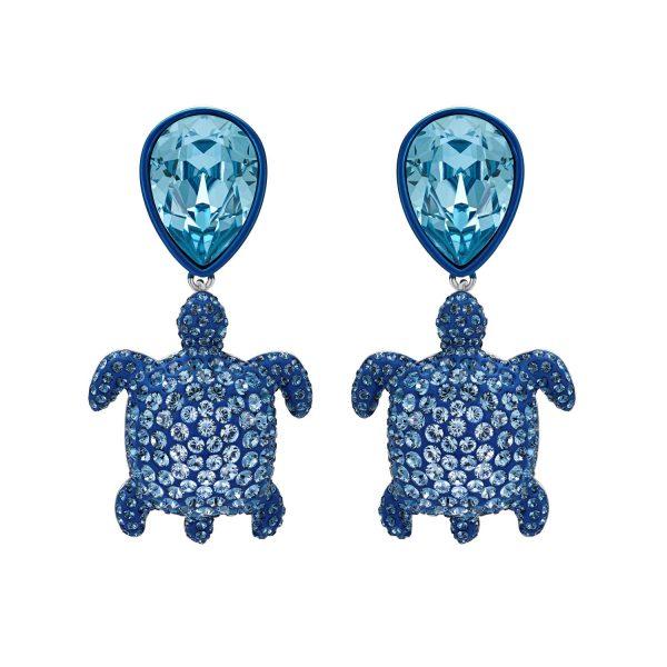 Sea Life Turtle Drop Earrings Light Sapphire Blue by Atelier Swarovski
