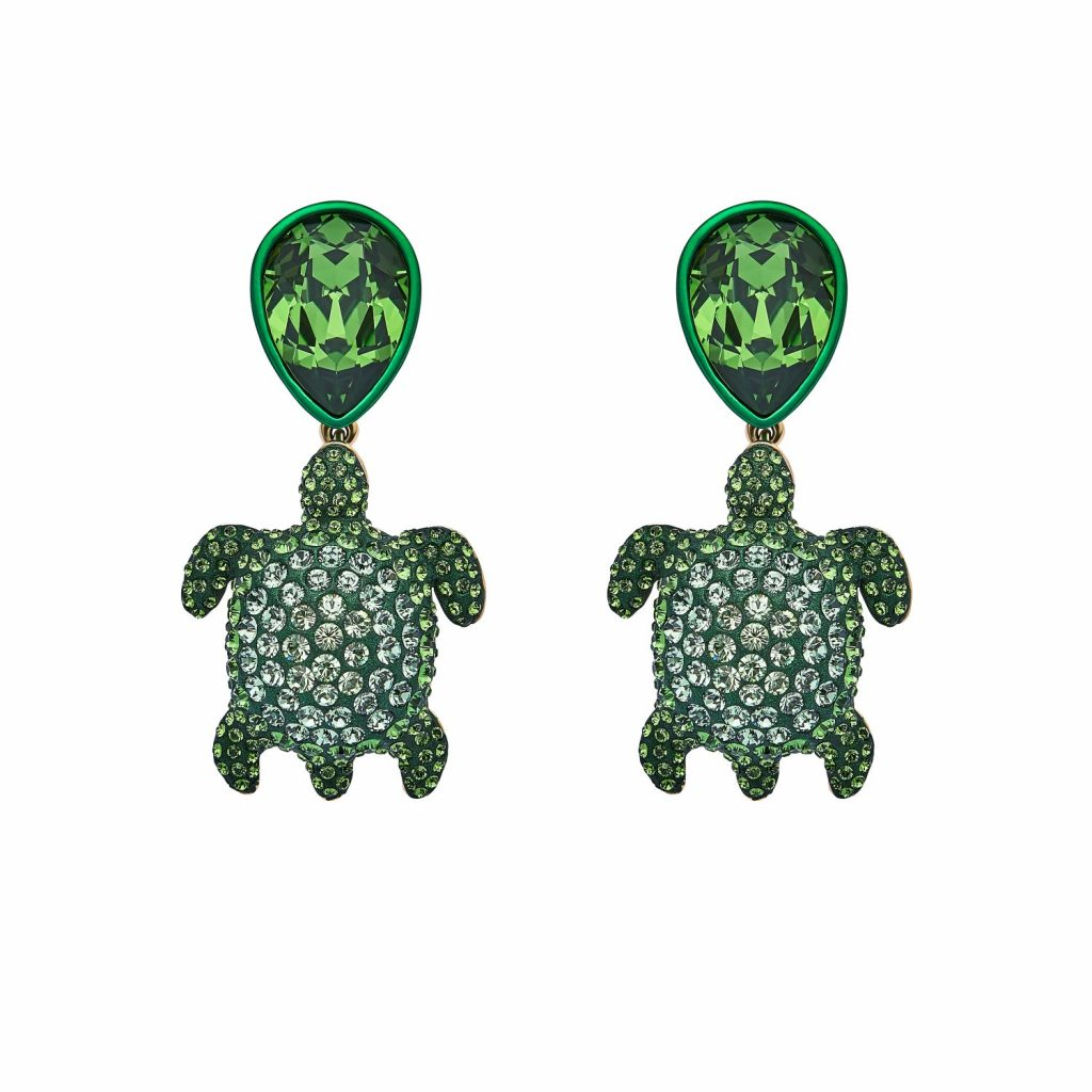 Sea Life Turtle Drop Earrings – Peridot Green by Atelier Swarovski