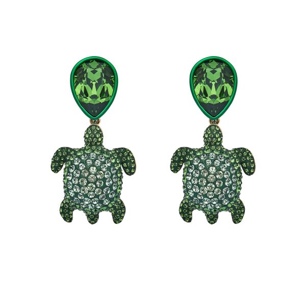 Sea Life Turtle Drop Earrings – Peridot Green by Atelier Swarovski