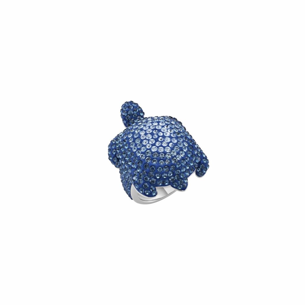 Sea Life Turtle Large Ring – Light Sapphire Blue by Atelier Swarovski