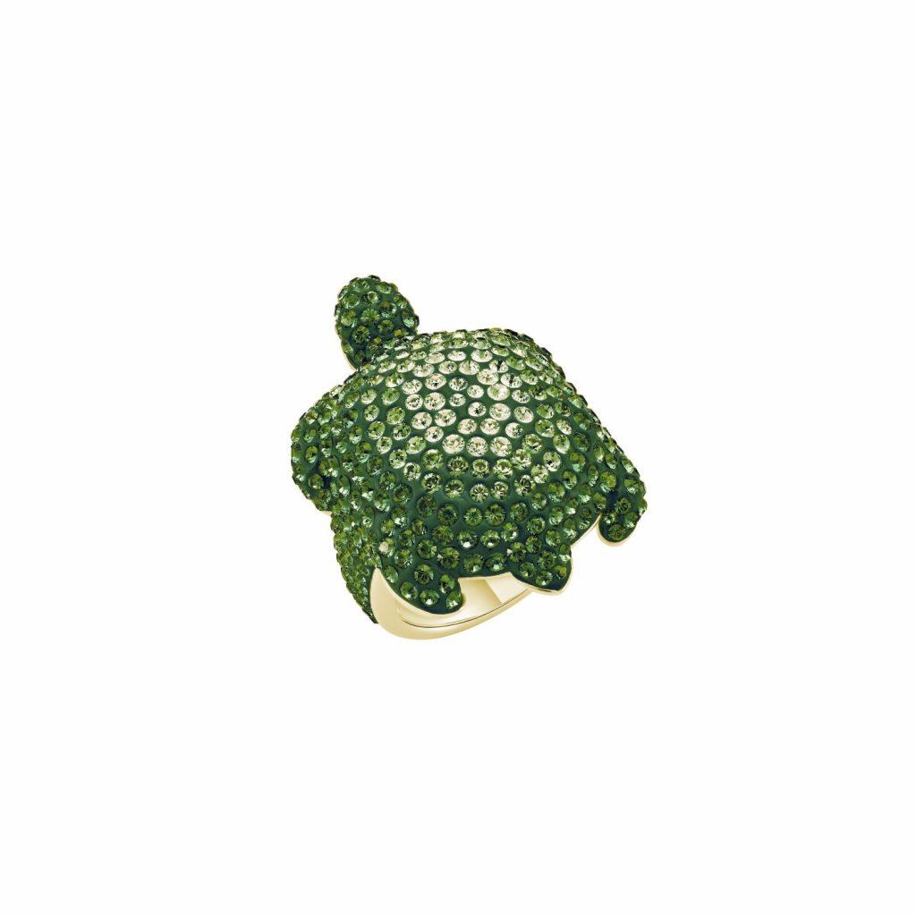 Sea Life Turtle Large Ring – Peridot Green by Atelier Swarovski