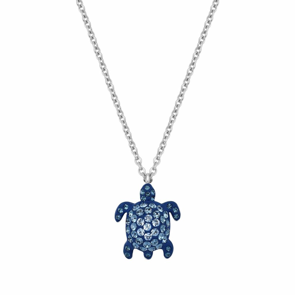 Sea Life Turtle Necklace – Light Sapphire Blue by Atelier Swarovski
