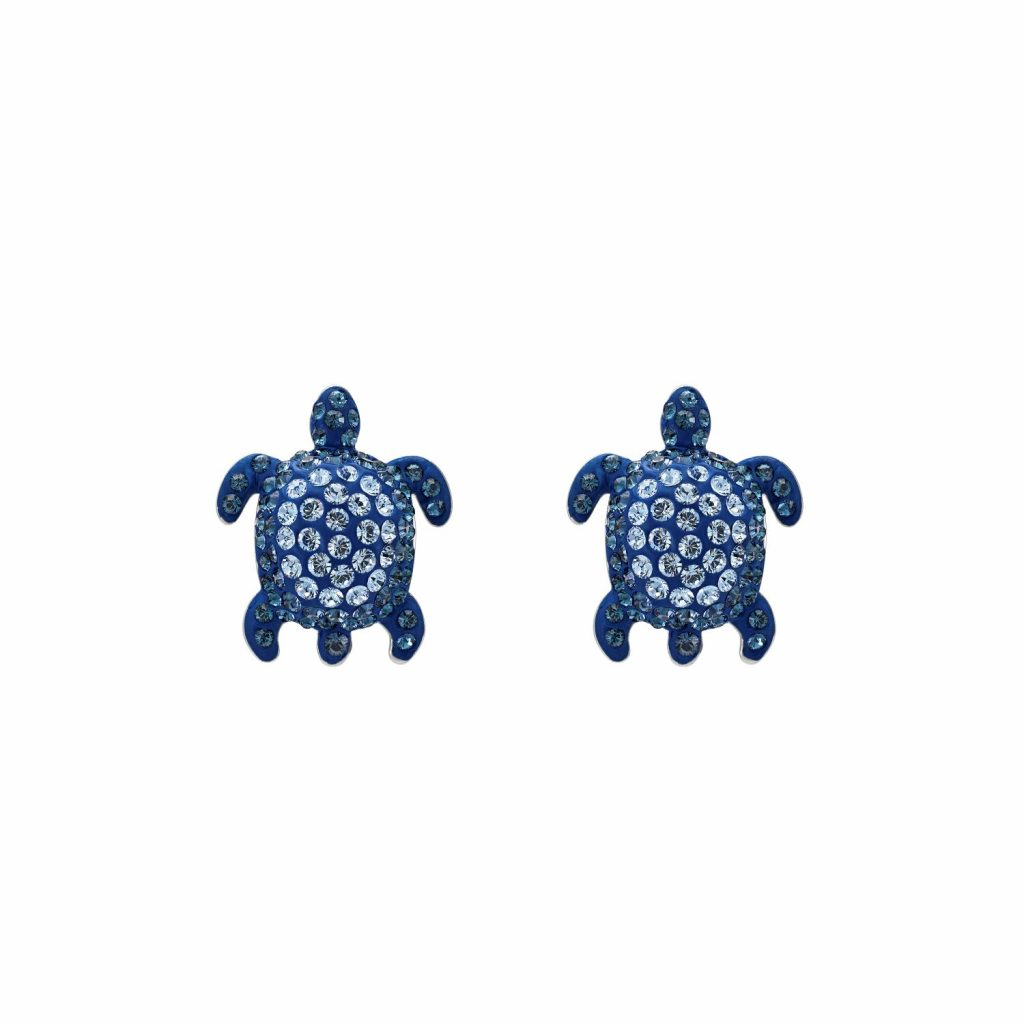 Sea Life Turtle Stud Earrings – Light Sapphire Blue by Atelier Swarovski