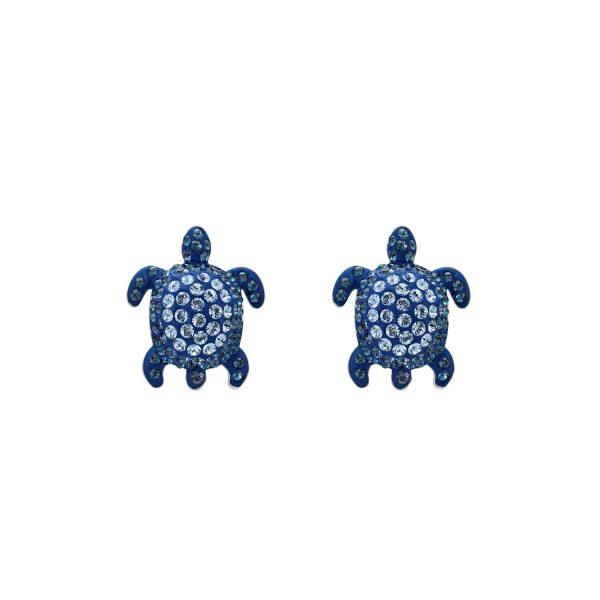 Sea Life Turtle Stud Earrings – Light Sapphire Blue by Atelier Swarovski