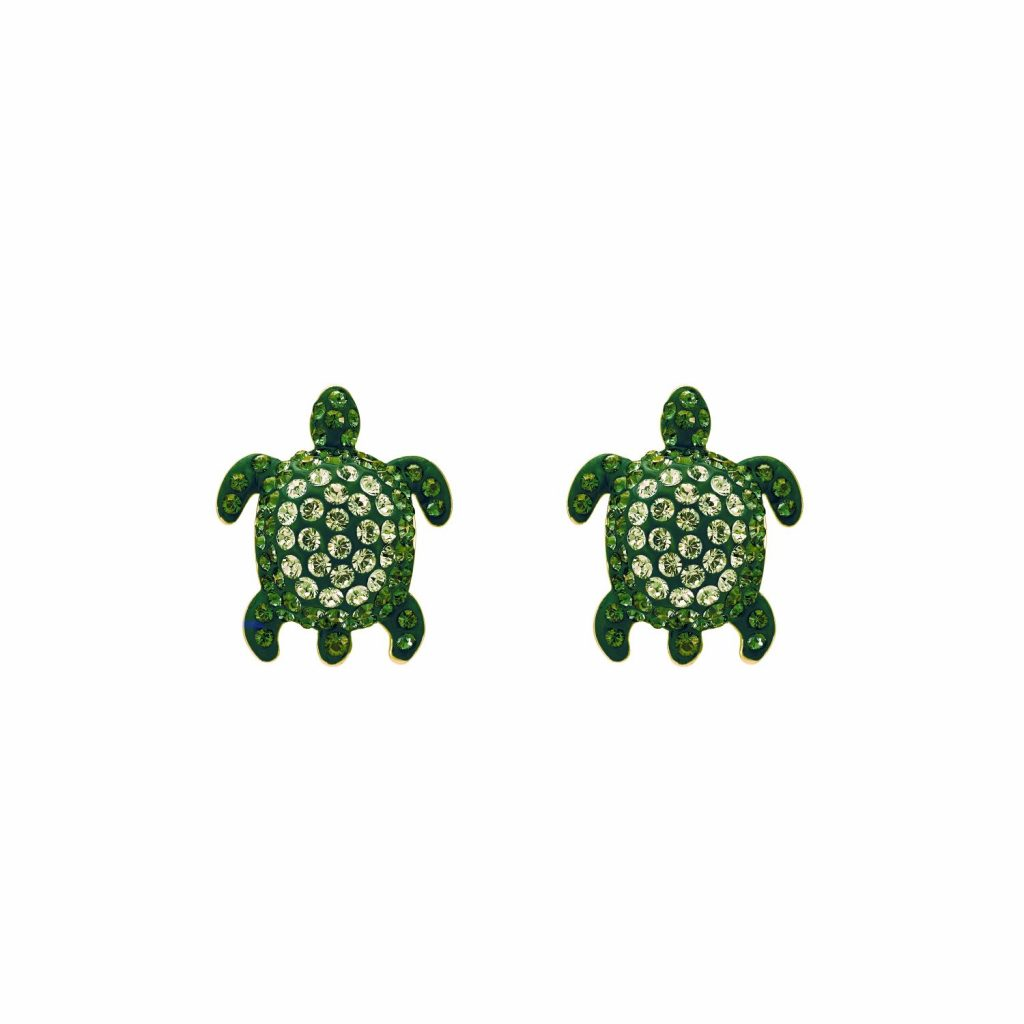 Sea Life Turtle Stud Earrings – Peridot Green by Atelier Swarovski