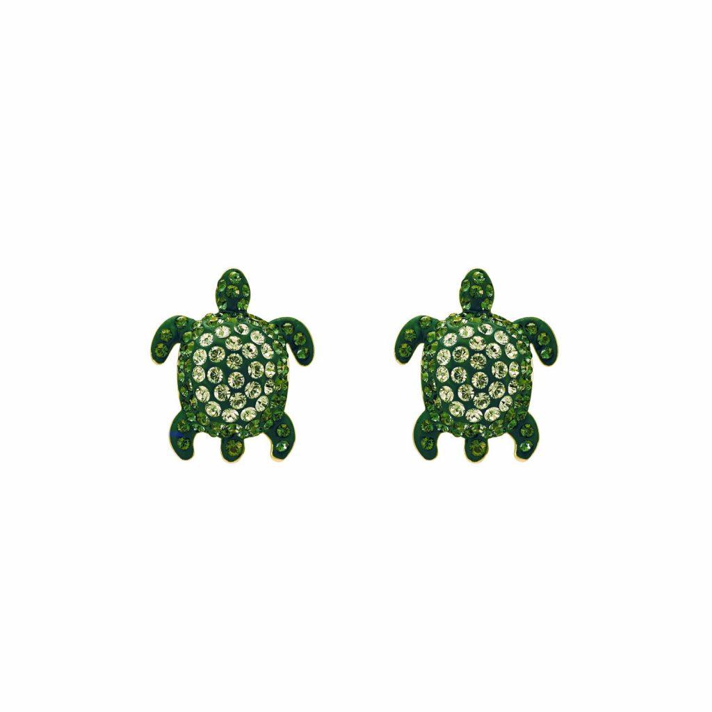 Sea Life Turtle Stud Earrings – Peridot Green by Atelier Swarovski
