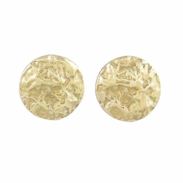 LXXXV Gold Texture Circle Stud Earrings by Ellis Mhairi Cameron