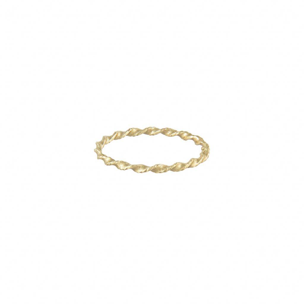 LXXXII Twist 1mm Gold Band by Ellis Mhairi Cameron