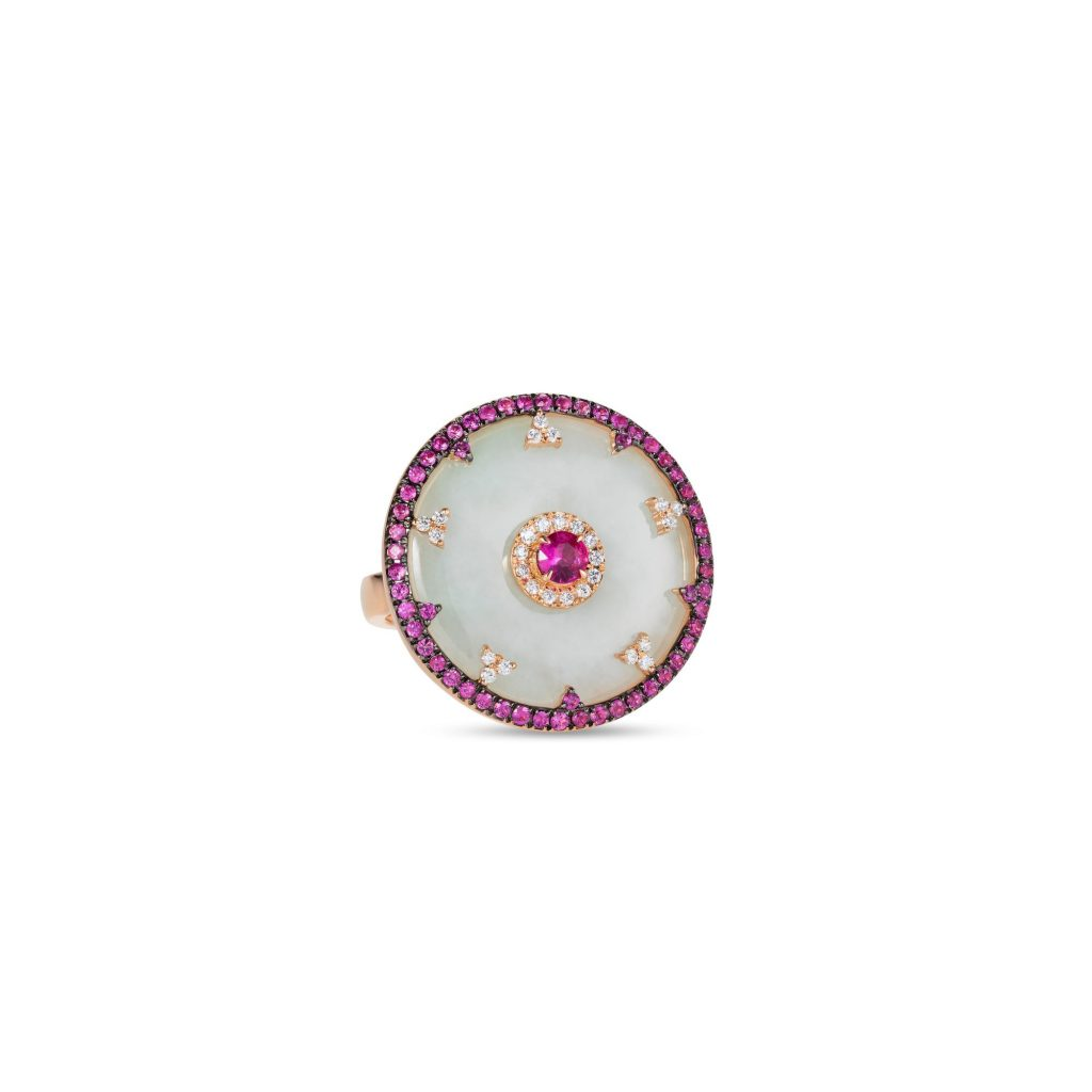 Celeste Pink Sapphire and Jade Disc Ring by Nadine Aysoy