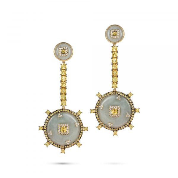 Celeste Yellow Sapphire and Jade Earrings by Nadine Aysoy