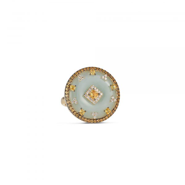 Celeste Yellow Sapphire and Jade Disc Ring by Nadine Aysoy