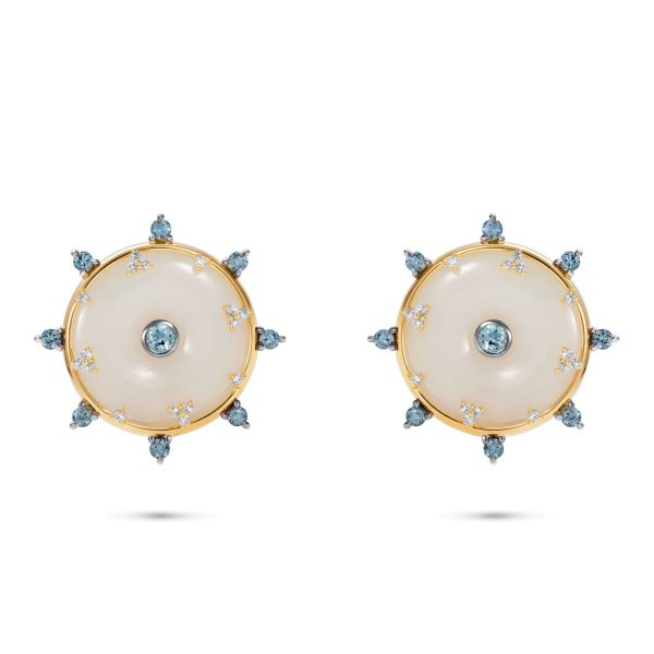 Celeste Aquamarine and Jade Stud Earrings by Nadine Aysoy