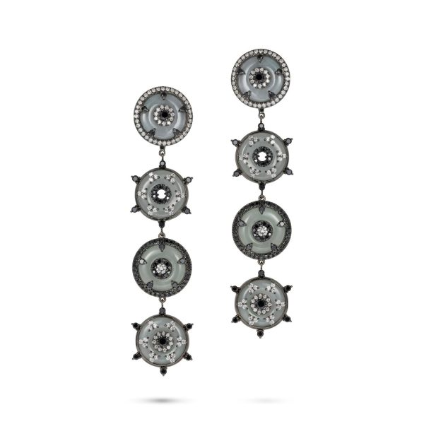 Celeste Black Diamond and Jade Disc Earrings by Nadine Aysoy