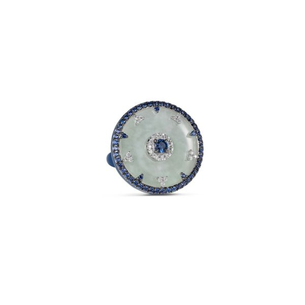 Celeste Blue Sapphire and Jade Disc Ring by Nadine Aysoy