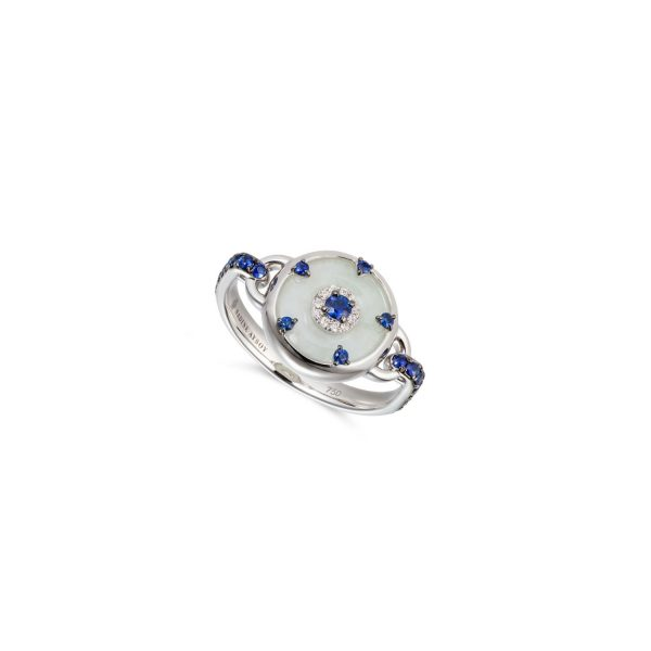 Celeste Blue Sapphire and Jade Ring by Nadine Aysoy