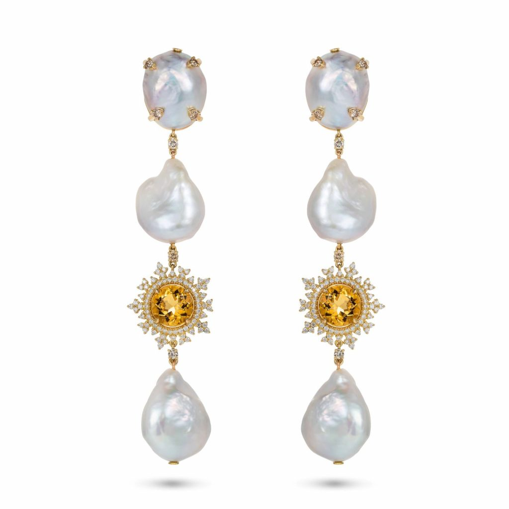 Tsarina Beryl and Baroque Pearl Earrings by Nadine Aysoy