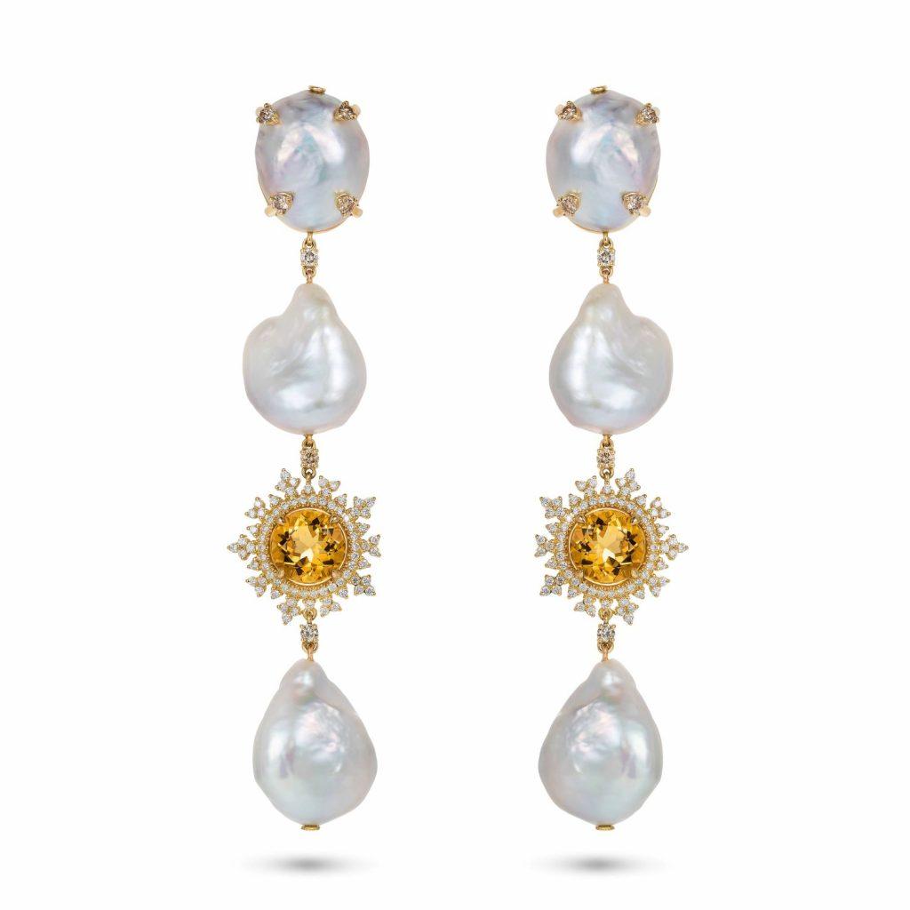 Tsarina Beryl and Baroque Pearl Earrings by Nadine Aysoy
