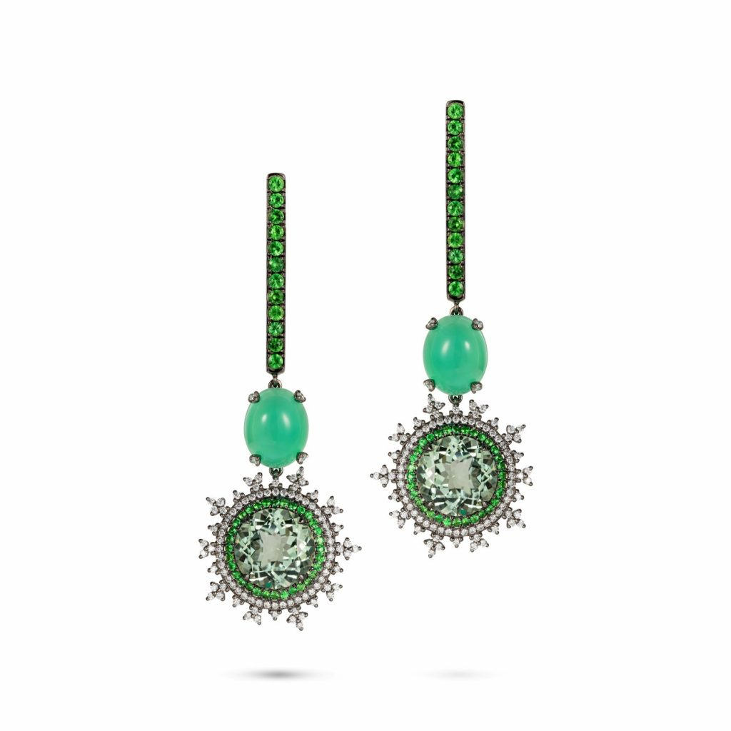 Tsarina Mint Flake Earrings by Nadine Aysoy