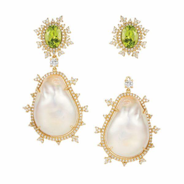 Tsarina Peridot and Baroque Pearl Earrings by Nadine Aysoy