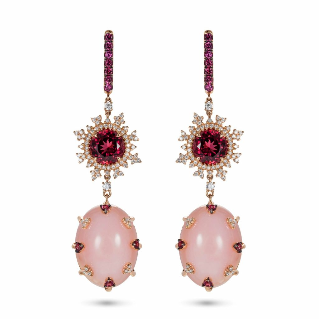 Tsarina Rhodolite and Pink Chalcedony Earrings by Nadine Aysoy