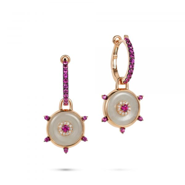Celeste Hoop Pink Sapphire and Jade Earrings by Nadine Aysoy
