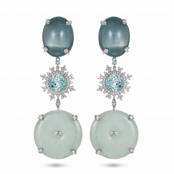 Tsarina Aquamarine and Jade Earrings by Nadine Aysoy
